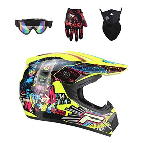 Lvguang Carretera Moto Casco Motocross Casco 4pcs Casco de Motocross para Hombre Mujer & Mascarilla Forrada de Motocicleta & Gafas de Moto & Guantes para Moto
