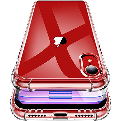 Garegce Coque iPhone XR, 3 Pack Verre Trempé Protection écran, Housse Etui de Transparente pour iPhone XR Silicone TPU [Antichoc Bumper avec Coins Renforcés] pour iPhone XR, 6.1 Pouces- Transparent