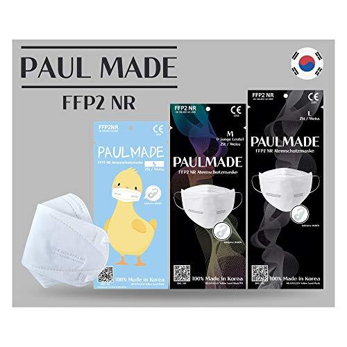 MONEUAL Made in South Korea / [48 St] FFP2 Atemschutzmaske / CE Zertifiziert / Dermatest geprüft / hygienisch verpackt / versteckter Nasenbügel / 3D Design / 4-lagig (Large - unisex)