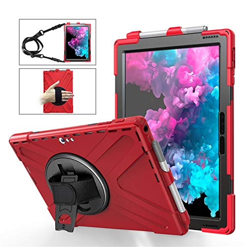 BlinkCat iPad Case for Microsoft Surface Pro 4 / 5 / 6 / 7 12.3 inch, Full Body Rugged Drop Protection Hybrid Shockproof Protective with Kickstand / Hand Strap+Shoulder Strap / Pencil Holder - Red