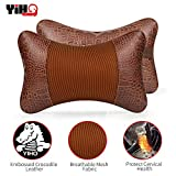 YIHO Car Neck Pillow Head-Rest Support Cushion to Relief Cervical Pain Issues for Driver & Passenger Seat, Recliner or Office Chair, Embossed Crocodile Leatherette & Cotton [2 Pack]
