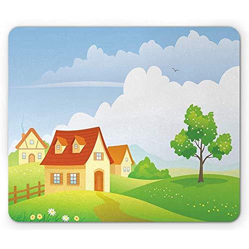 Country Mouse Pad, Summer Village Scene op een weide tuin hek bomen en huizen, anti-slip rubber muismat, limoen groen Multi kleuren