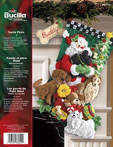 Bucilla 18-Inches Christmas Stocking Felt Appliqué Kit, 86054 Santa Paws