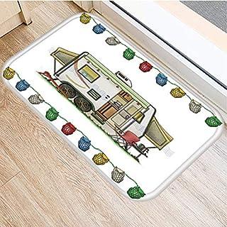 HLXX Cartoon Camper Owl Pattern Anti-Slip Suede Carpet Door Mat Doormat Outdoor Kitchen Living Room Floor Mat Rug A8 60x90cm