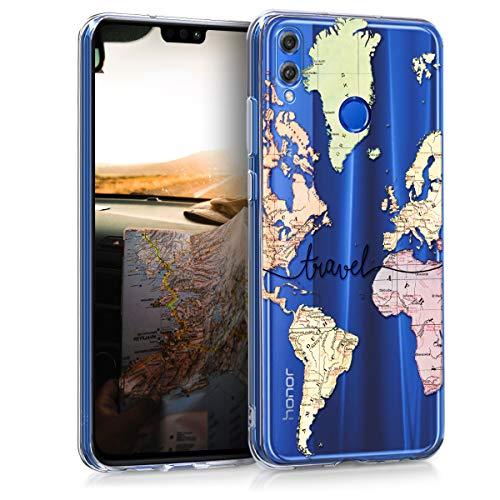 Huawei Honor 8X Hülle - Handyhülle für Huawei Honor 8X - Handy Case in Travel Schriftzug Design Schwarz Mehrfarbig Transparent