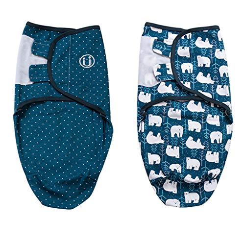 Baby Pucksack 2 verpakkingen wikkeldeken slaapzak voor zuigelingen babydeken 5-7 monate IJsbeer