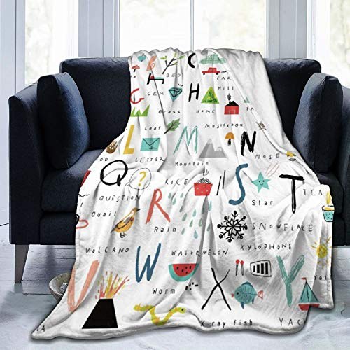 Minalo Personalized Fleece Blanket,24 Letter ABC Back to School Education,Living Room/Bedroom/Sofa Couch Bed Flannel Quilt Throw Blanket,60'X 80'