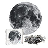 Jacriah Round Puzzles 1000 Piece for Adults Challenge Puzzle Floor Puzzles Large Puzzle Game for Adult Teen Kids Family Friends Toy Gift Perfect for Learning Education Board Size 27x27in(The Moon)