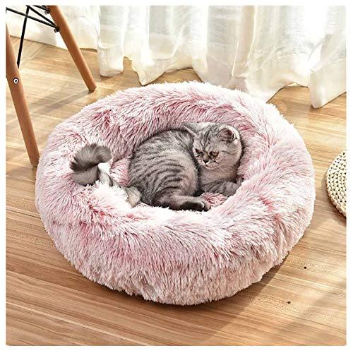 Smniao Schlafplatz für Katzen und Kleine Hunde Katzenbett Waschbar Hundekissen Flauschig Hundebetten Haustierbett Plüsch (S: 45x 45cm, Pink)