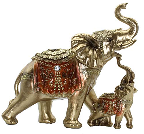 Feng Shui Mama and Baby Elephant Collectible Statue,...
