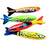 Skylety 4 Piece Dive Torpedo Bandits Pool Toys Underwater Diving Torpedo Bandits Water Games Training Gift Set for Boys Girls Ages 5 and Up