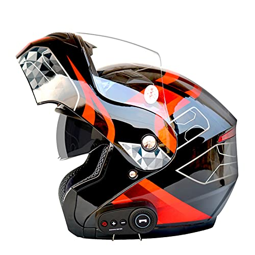 Casco De Motocicleta Modular Bluetooth Full Face Flip Up Auriculares Delanteros Tipo De Flip-Tipo Dual Sun Sun Helmet Casco Integral DOT ECE Aprobado Para Hombres Y Mujeres,J,L