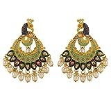 Efulgenz Indian Bollywood Crystal Rhinestone Faux Pearl Peacock Dangle Bridal Wedding Chandbali Earring Set Jewelry