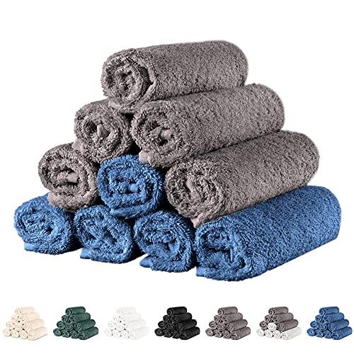 Twinzen - 10 x Kleine Gezichtsdoek 30x30 cm, Duo Donkergrijs/Donkerblauw - Handdoek, Gezichtsdoek, Handdoekenset, Baby Washandje