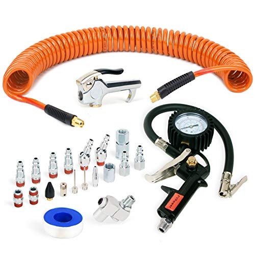"""FYPower 22 Pieces Air Compressor Accessories kit, 1/4 inch x 25 ft Recoil Poly Air Compressor Hose Kit, 1/4"""" NPT Quick Connect Air Fittings, Tire Inflator Gauge, Blow Gun, Swivel Plugs, Orange PU Hose"""
