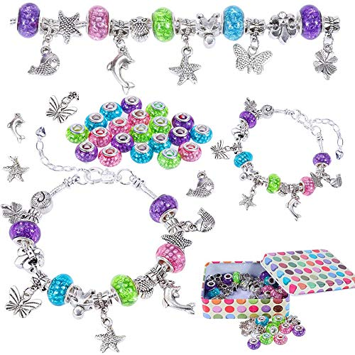 Nabance Jewellery Making Kit DIY Charm Bracelet Making Kits for Girls 59PCS Silver Plated Pendants Coloured Beads Snake Chain Crafting Sets, Arts and Crafts for Kids Christmas Birthday Gift Present
