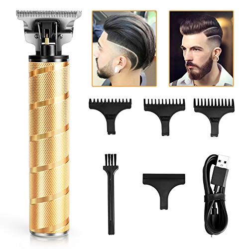 Hair Clippers for Men, Zero Gapped Hair trimmers, Anyfun T-Blade Trimmers for Hair Cutting, Cordless Hair Clippers Barber Clippers,USB Qucik Charge Waterproof Pro Li Trimmers (gold)