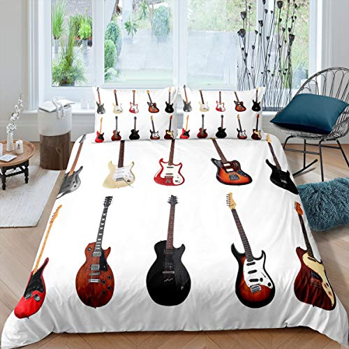 Guitar Comforter Cover Set,Electric Guitar Bedding Set For Boys Teens Girls Kids,Musical Quilt Cover Child Instrument Quality Bed Linen Brown,Decor 2 Pcs Duvet Cover Single Size & Zipper Ties