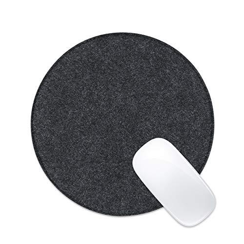 ProElife Alfombrilla de ratón fina de 8.66 pulgadas de fieltro liso con parte inferior de goma antideslizante y borde cosido para superficie sensible y resistente al ruido (gris profundo)