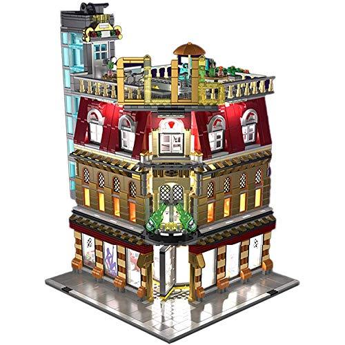 Cestbon Módulos Modelo arquitectónico con iluminación LED, 2488 Partes de Kit Modelo de construcción 1 5-en-, Bloques de terminales Juguetes de construcción Compatible con Otras Marcas,Amarillo