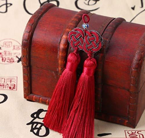 AUBERSIT Borlas de Doble Encanto de poliéster con Cuentas de Ruyi Chino, Accesorios Colgantes de borlas Decorativas Retro, Rojo Vino, Cuentas de ruyi 1 Uds