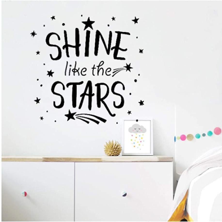 Shine Like The Stars Quotes Wall Stickers Bedroom Home Decoration Removable Text Wall Decal for Kids Rooms Stars Decals 58x56cm