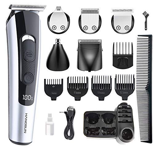 Hangsun HC550 - Cortapelos profesional para cabello (2 cuchillas de afeitar), 5 cabezales de peine, máquina de cortar pelo de nariz y barba