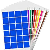 2,5cm Gomets Colores Cuadrado Pegatinas Adhesivos - 10 Colores, Pack de 1200