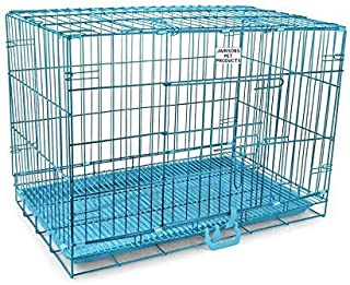 PSK PET MART 30 Inch Sky Blue Double Door Foalding Metal Dog Cage with Removable Tray Paw Protector for Medium Size Dog an...