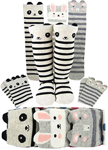 Girls Knee High Long Socks Gift For 4-8 Year Old Girl Sock From Tiny Captain (Grey and White, Small)