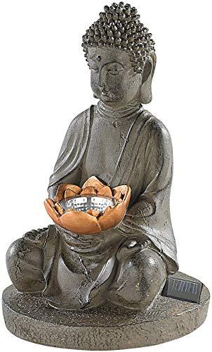 WYQSX Luces Solares Figura Buda de Suerte Sentado Resina Lámpara de Jardín decoracion Luces de Paisaje Lámpara de Césped Exterior LED Impermeables Lámpara de Tierra para Entrada Iluminación