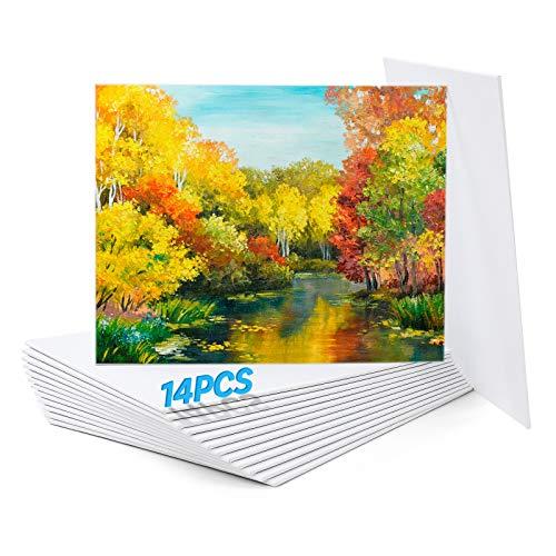 Paneles de lienzo para pintar, 20 x 25 cm (8 x 10 pulgadas), Algodón 100%, Paquete de 14, Lienzos para pintar acrilico, pintura al óleo y artísticos