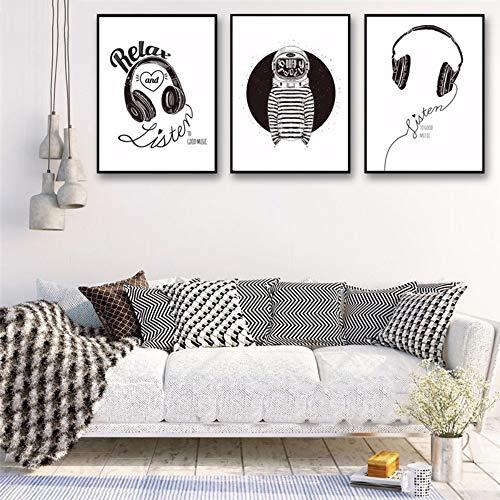 Minimalista en blanco y negro en la pared Cuadros N Decoración Auriculares Espacio de música Moderno Gimnasio juvenil Lienzo Impresión del arte del cartel Pintura Sin marco 40x60 cm