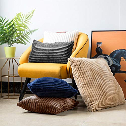 Velvet Pillowcover Gold Soft Striped Corduroy Plush Oblong Toss Cushion Cover with Faux Leather Handle for Couch Sofa Car Bed Office Living Room Bedroom Decor 20 inch