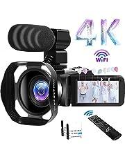 """Videocámara 4K Cámara de Video 48MP WiFi Videocamara 18X Zoom Digital con IR Versión Nocturna Vlogging Cámara 3.0""""IPS Pantalla táctil con micrófono, Parasol, Control Remoto inalámbrico 360°"""