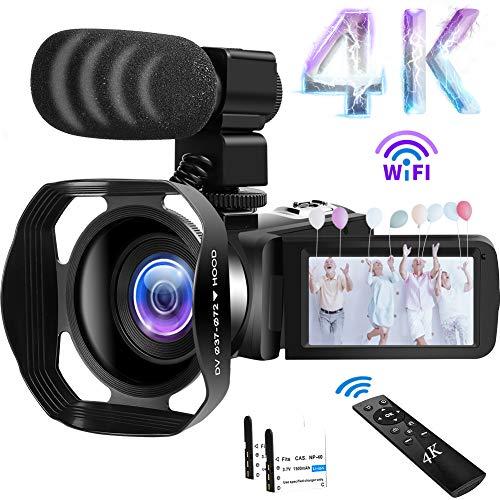 """Videocámara 4K Cámara de Video 48MP 60FPS WiFi Videocamara 18X Zoom Digital con IR Versión Nocturna Vlogging Cámara 3.0""""IPS Pantalla táctil con micrófono, Parasol, Control Remoto inalámbrico 360°"""