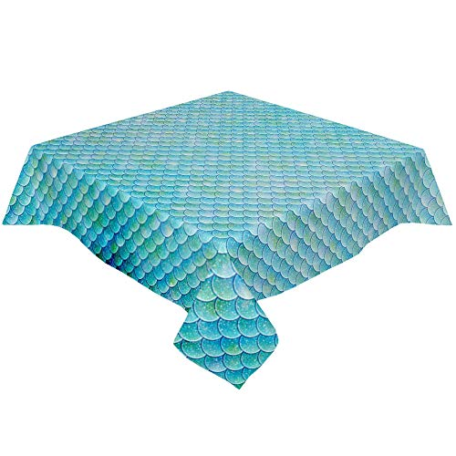 Infinidesign Rectangle Mermaid Tablecloth, Table Cloth Linen Burlap Wrinkle Free Tablecloths 60x60inch, Table Cover for Kitchen Dining Party, Sparking Fish Scales Teal Green