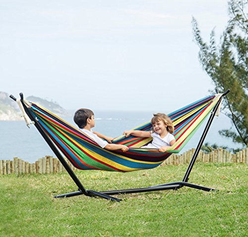 Amethya Double Cotton Fabric Hammock with 9-Foot Stand and Portable Carrying Case