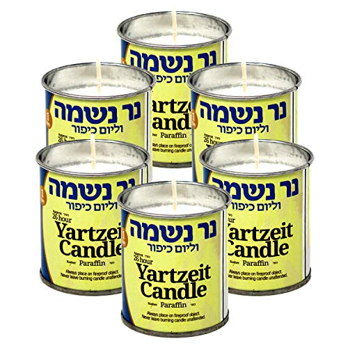 RAMBUE 24 Hour Yartzeit Memorial Candle in Tins (6 Pack)- White Perffin Wax Candle Burning Time Aprox. 1 Day