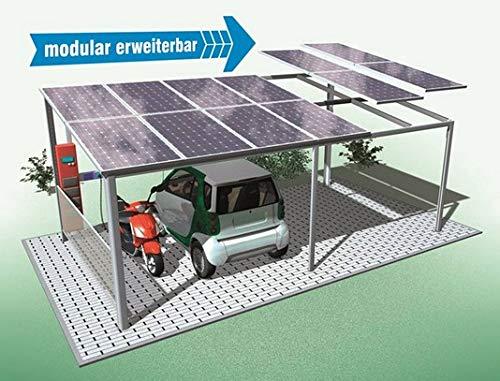 Carport op zonne-energie, complete installatie op zonne-energie voor auto, motorfiets, eBike. In elke maat te maken.