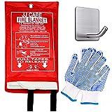 JJ CARE EXTRA LARGE Fire Blanket Fire Suppression Blanket 59'x59' +Hook & Gloves Fire Blanket Kitchen, Fire Emergency Blanket, Fire Retardant Blankets, Fiberglass, Fire Safety Blanket