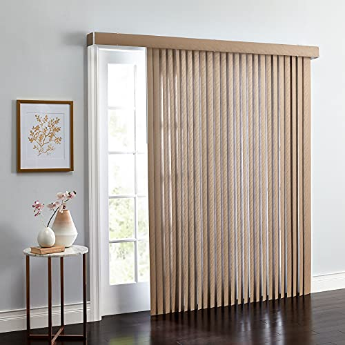 BrylaneHome Embossed Vertical Blinds 3.5 Inch Slats Window Privacy Reversible - 78I W 84I L, Light Taupe Gray