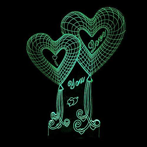 HNXDP Regalo creativo del Día de San Valentín Personalidad 3D Lámpara de ahorro de energía Usb Amor 3D Amor doble Toque Luz de noche colorida A1 Fondo negro