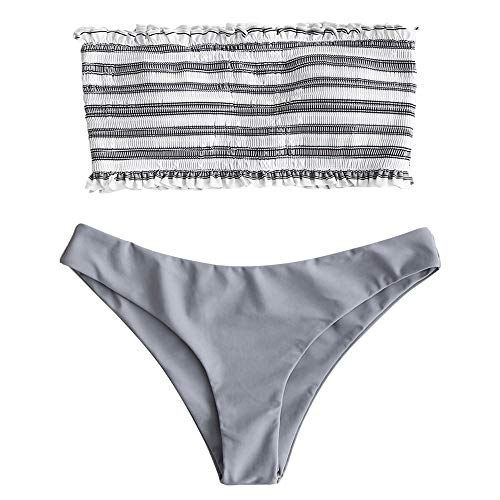 ZAFUL Damen Bikini-Set Gestreiftes Bikini Set mit Rüschen Bikiniset Bandeau BademodeBademode Swimwear Swimsuit Grau Small