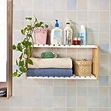 SoBuy FRG27-WN Etagère murale salle de bain toilettes, Meuble de Rangement Cuisine, 2 niveaux avec 2 crochets