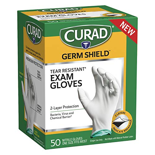 CURAD Germ Shield Nitrile Exam Gloves, Disposable Gloves are Tear Resistant, One Size Fits Most (50 Count), Can be used as medical gloves, cleaning gloves, or for home improvement tasks - CUR6045