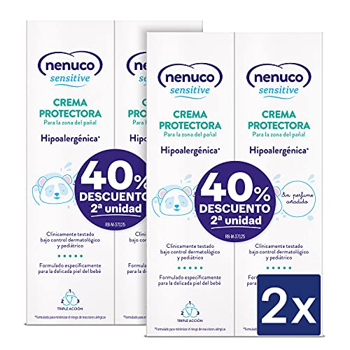 Nenuco Sensitive Crema Protectora para la zona del pañal, Hipoalergenica y Sin Perfumes Añadidos - Duplo Packx2 4x100ml