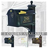 Personalized Whitehall Balmoral Mailbox with Side Address Plaques, Monogram & Post Package (3 Colors Available)