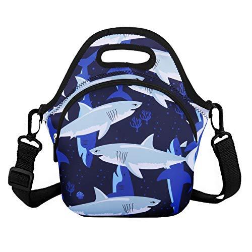 Violet Mist Einhorn-Neopren-isolierte Lunch-Tasche, groß, mit extra Tasche, wasserdicht, abnehmbare und verstellbare Schultern, Lunchbox, Handtaschen Shark 6