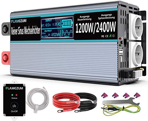 1200 Reiner Sinus Spannungswandler 12v 230v Reiner Sinus wechselrichter 12v auf 230v mit 2 EU Steckdosen und 2 USB-Port -Fernbedienung und LED-Anzeige,Spitzenleistung 2400W